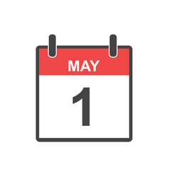 May 1 calendar icon labour day in flat style vector