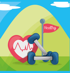 Mountain with weights and heartbeat healthy body vector