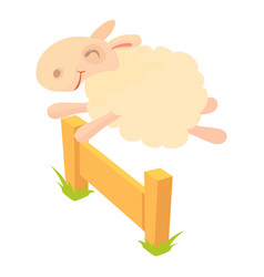 sheep jumping over barrier icon cartoon style vector image vector image