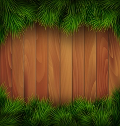 Christmas Tree Pine Branches Like Frame on Wooden vector image vector image