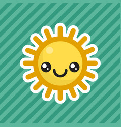 Cute kawaii smiling sun cartoon icon vector