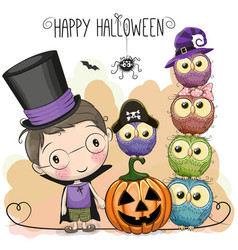 halloween card with boy and owls vector image