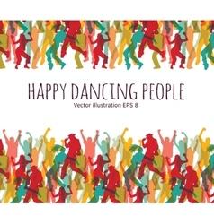 Happy dancing people background frame vector image