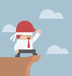 Motivated businessman on the cliff Motivation con vector image