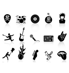 rock and roll music icons vector image