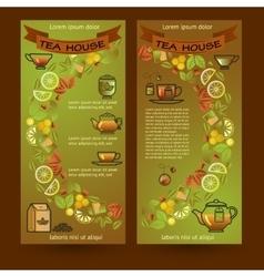 Tea house cards Flyers set of Cup leaf lemon vector image