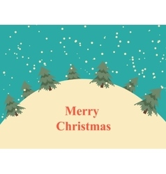 Vintage Christmas card with snow hills and trees vector image vector image