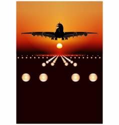 airbus landing at sunset vector image