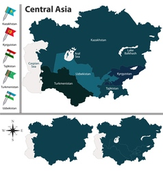 Central asia with flags vector