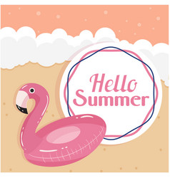 hello summer flamingo life ring beach background v vector image