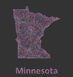 Minnesota line art map vector
