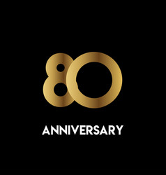 80 year anniversary simple template design vector