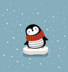 a cute penguin on ice floe vector image