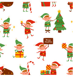 adorable happy elves in festive costumes seamless vector image