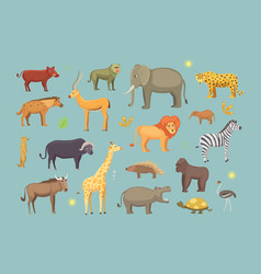 African animals cartoon set safari vector