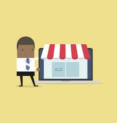 African businessman promote online shop in laptop vector