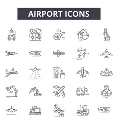 airport line icons for web and mobile design vector image