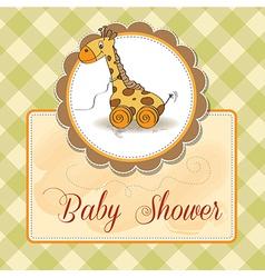 Baby shower card with cute giraffe vector