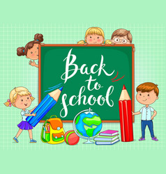 back to school school board with funny kids vector image