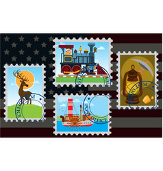 Background mail in america stamps with the image vector