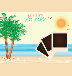 Beach with a photograph vector