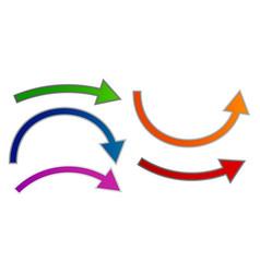 Bending arrow set colorful vector