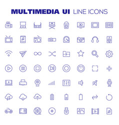Big multimedia icon set trendy linear icons vector