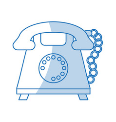Blue shading silhouette cartoon retro telephone vector