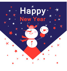 Bright new year card with snowmen vector