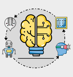 bulb brain circits artificial intelligence vector image