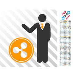 Businessman show ripple coin flat icon with bonus vector
