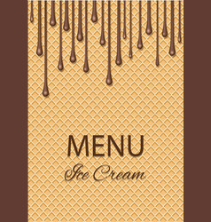 chocolate ice cream flowing over waffle texture vector image