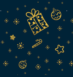 christmas gold seamless pattern with gift stars vector image