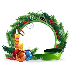 Christmas Wreath with candles and baubles vector image
