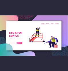 cleaning service team in airport landing page vector image