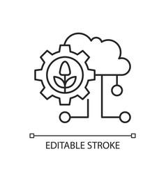 cloud computing in farming linear icon vector image