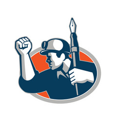 Coal miner holding pen mascot vector
