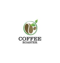 Coffee organic logo design - nature green fresh vector