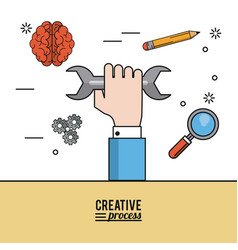 colorful poster creative process of hand with vector image