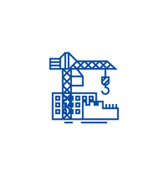 construction buildings line icon concept vector image
