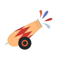 Cute circus cannon firing colorful paint vector