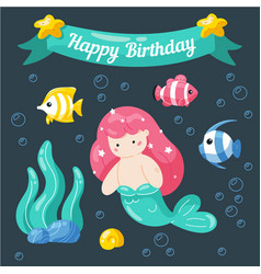 cute little mermaid birthday card marine life vector image