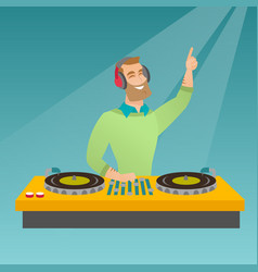 Dj mixing music on the turntables vector