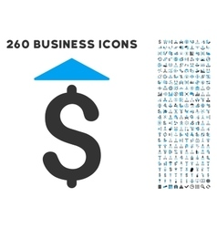 Dollar Up Icon with Flat Set vector