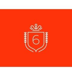 Elegant number 6 logotype Premium numeral crest vector
