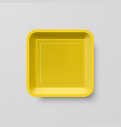 Empty yellow plastic food square container on vector