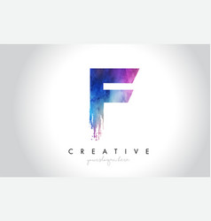 F paintbrush letter design with watercolor brush vector