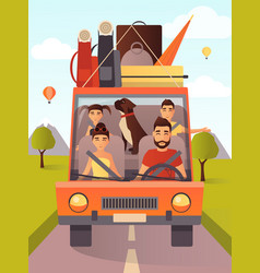 Family traveling by car in vector
