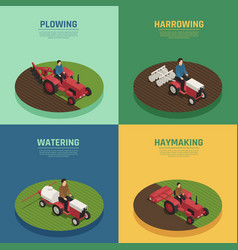 Farm machinery 4 isometric icons vector