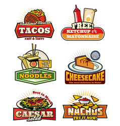 Fast food retro symbols with snack and desserts vector